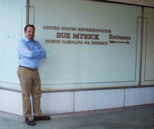 David outside of Rep. Myrick's old office in Gastonia